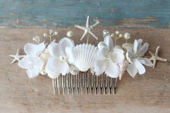 Beach Wedding Comb, Seashell Starfish Pearls Crystals & Flowers Hair Comb, 'Thailia', wedding accessory, bridal headpiece by DeLoop