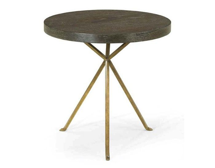 "X-Ray side table with a wooden top on a metal base. Dimensions 23.5"" Dia. x 23.5""H"