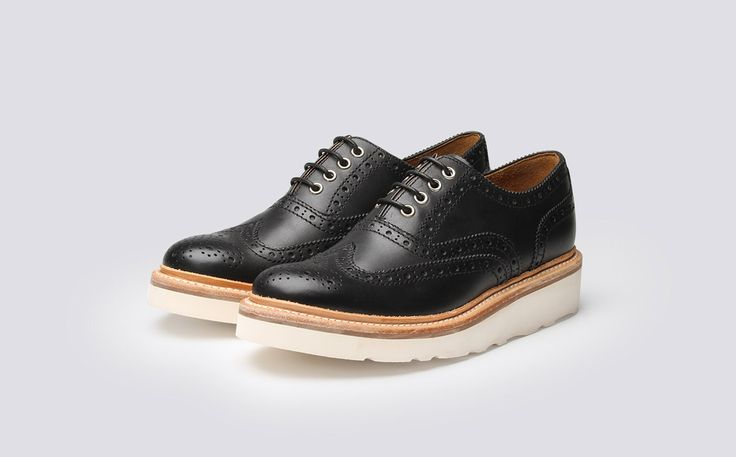 Womens Oxford Brogue in Black Calf Leather with a White Wedge Sole | Emily | Grenson Shoes - Three Quarter View