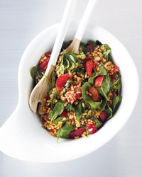 Kamut Salad with spinach, strawberries, shallots, etc.