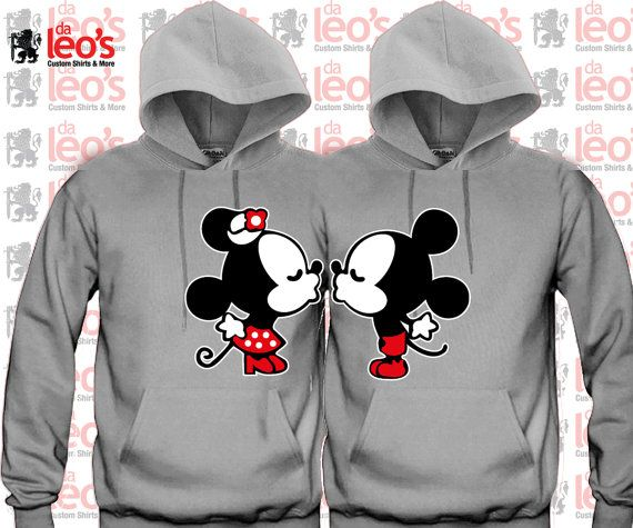 Mickey Minnie Kissing Cute couples matching Hoodies by DALEOS