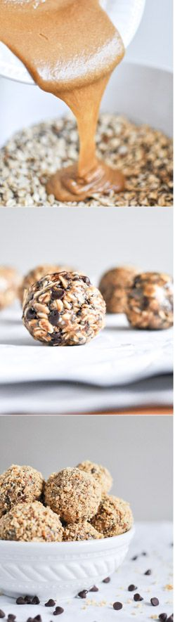 QUICK + EASY OATMEAL PEANUT BUTTER SNACK BITES. healthy and delicious snack! I howsweeteats.com