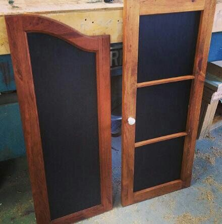 Up-cycled chalkboards.