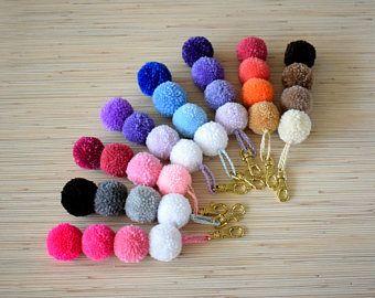 Pom Pom Keychain Ombre Pink Pompom Key chain Blue Pom Pom Key Ring Pom Pom Bag Charm Purse Charm Zipper Charm Boho Keychain Christmas Gift