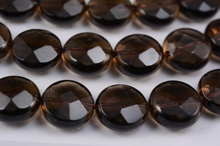 smoky quartz beads - wholesale gemstones and crystals - rocks and gemstones - faceted quartz - faceted coin beads - 14mm beads - 15 inch