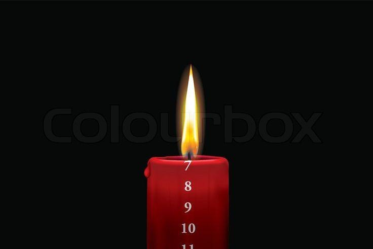 Rødt kalenderlys - 7. december | Vektor | Colourbox on Colourbox
