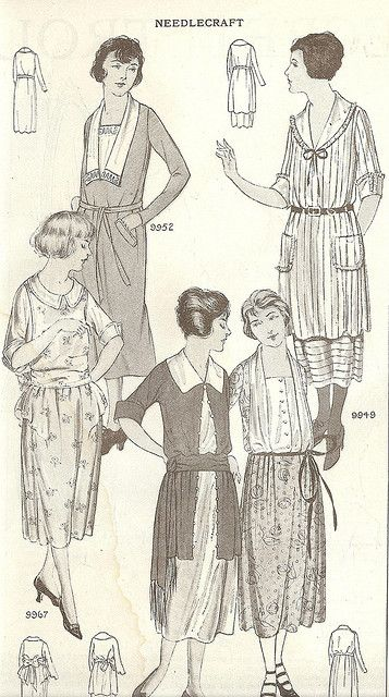 Dresses for spring, from the April 1921 issue of Needlecraft magazine. #vintage #1920s #fashion