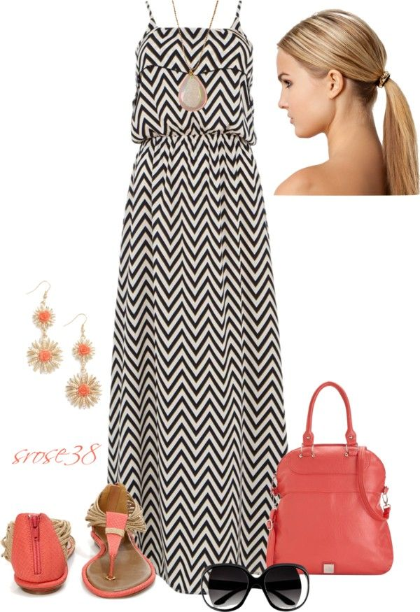 """Coral & Maxi dress"" by srose38 ❤ liked on Polyvore- LOOOOOVE this!!! :)"