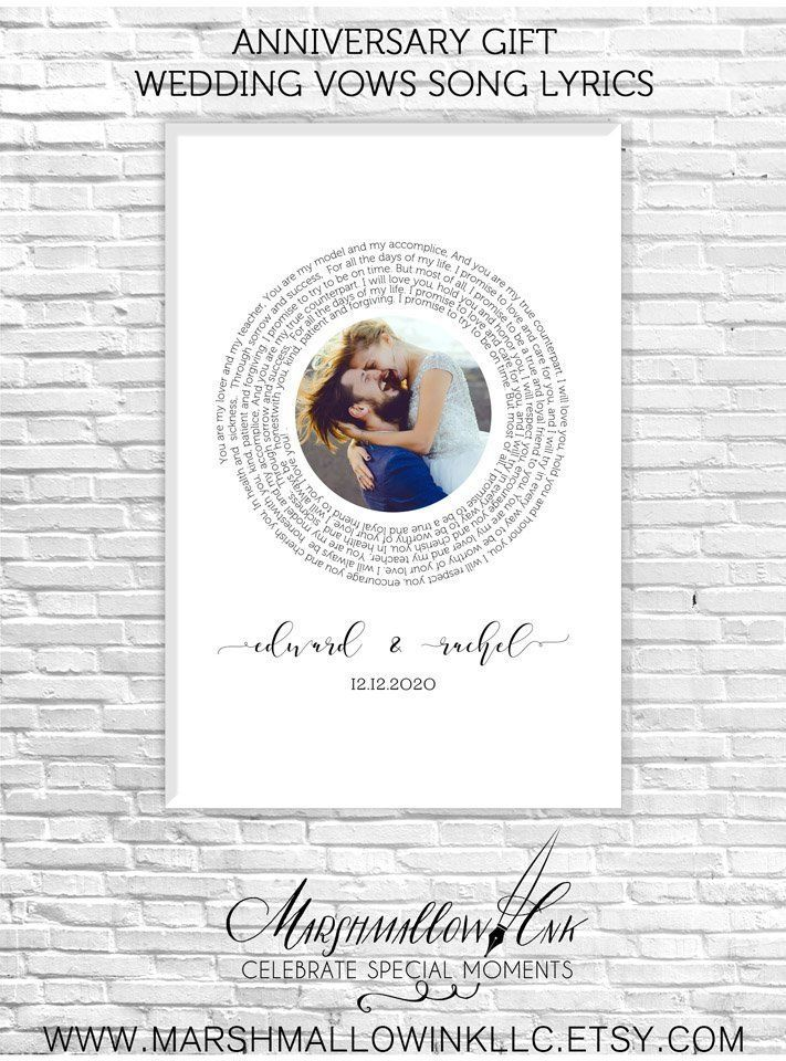 Personalized Gift For Him Photo Anniversary Gift One Year Wedding Anniversary Gift First Dance Song Ly Wedding Song Lyrics Wedding Songs Unique Wedding Gifts