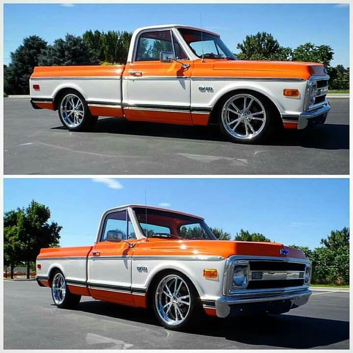 Orange and white 69-72 chevy c10 truck ☆°~°☆