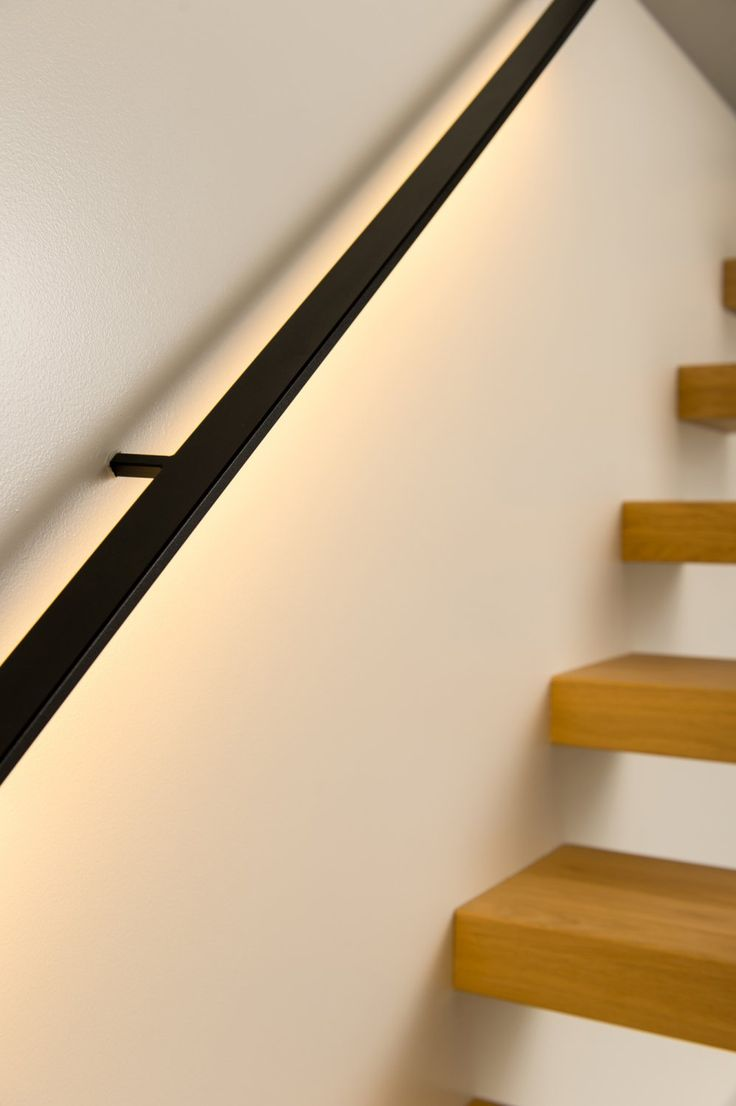 Don't need the LED - but simple flat bar handrail with lovely and very simple square profile slender standoffs...