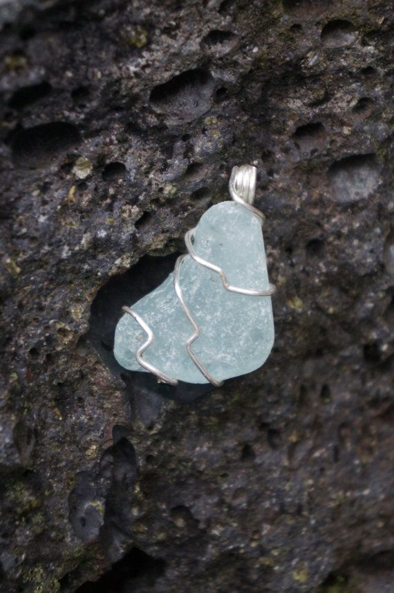 Hawaii Light Blue Sea Glass Wire Wrapped Necklace by AquaWai