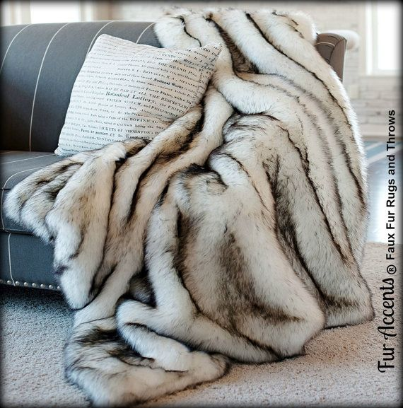 Exotic Faux Fur Bedspread - Comforter Throw Blanket - Pillow - Shams - White With Black or Brown Tips Arctic Fox - Design by Fur Accents USA