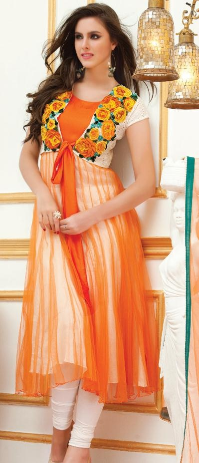 $98.88 Orange Short Sleeve Net Knee Length Anarkali Salwar Kameez 19467