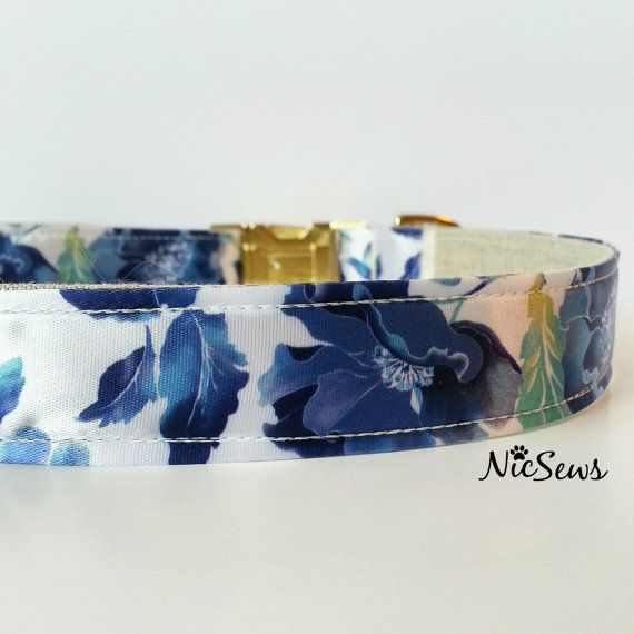 Dog Collar Blue Floral dog collar Fancy Dog Collar Gold by NicSews