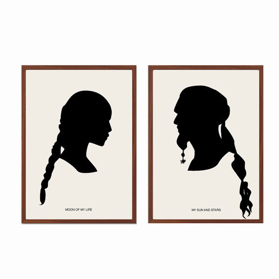 Moon of My Life My Sun And Stars Poster : Modern Illustration Game of Thrones Movie Retro Art Wall Decor - Set of Two Prints  A4 11 x 8