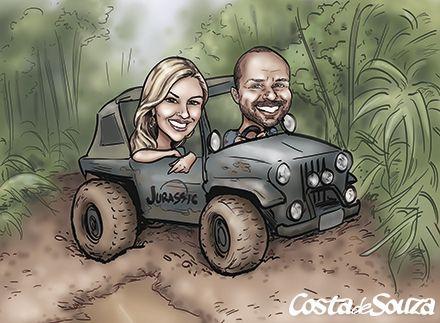 Caricatura de namorados com tema Trilha #jeep #offroad #couple #caricature