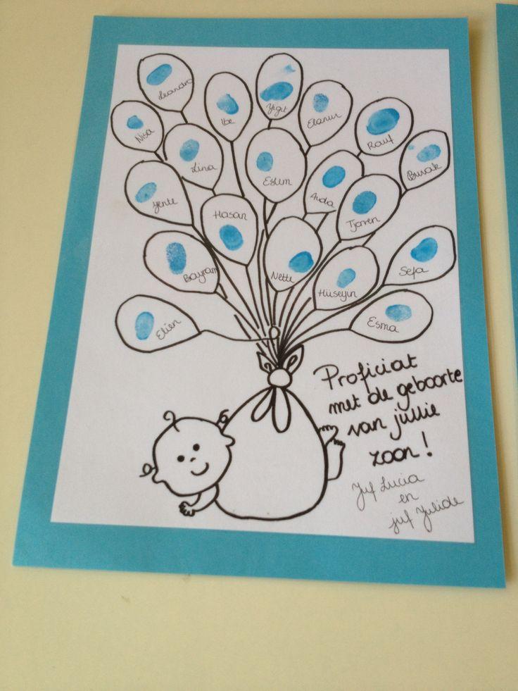 I.p.v. vingerafdrukken kan elk kind ook een wens in de ballon schrijven. Ballonnen kunnen dan ook nog eens apart uitgeknipt worden en opgeplakt.