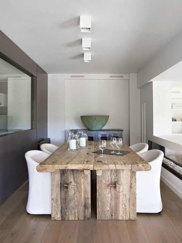 dining room : dark grey wall and light grey wall - wooden table