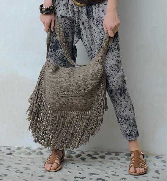 Crochet Fringe Bag, Boho Crochet,Hippie Bag,ethnic bag,knit bag,  shoulder bag, knit hand-made