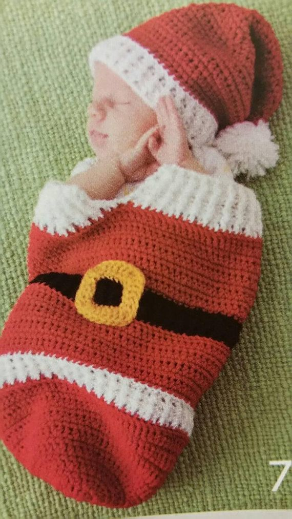 MTO Newborn Santa Cocoon & hat 0-3 months  Newborn Cocoon and Hat Baby Shower Gift New Baby Gift Christmas baby  Gender Neutral Christmas