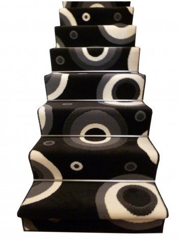 Black and grey swirly circle #stair #carpetrunner will make your home décor look fresh, young and vibrant.