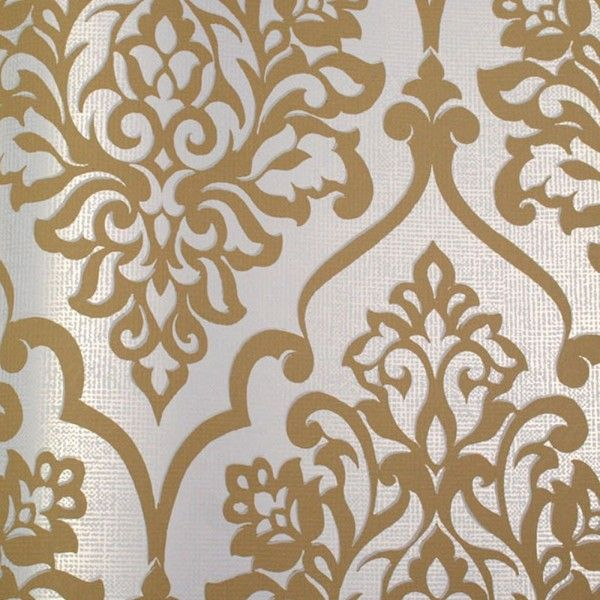 Astek Mood Living Nino Gold and White Damask Wallpaper ($137) ❤ liked on Polyvore featuring home, home decor, wallpaper, backgrounds, art, textured wall covering, floral wallpaper, white and gold wallpaper, damask home decor and damask pattern wallpaper