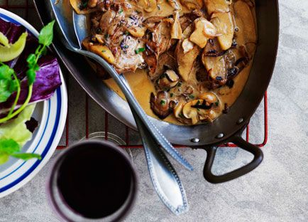Gourmet Traveller WINE French recipe for veal escalopes with mushrooms and apples.