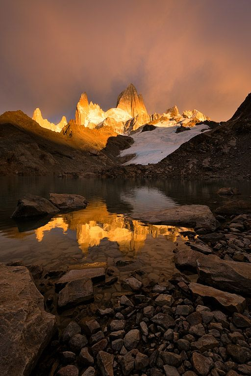 Bronze Light, Mount fitz roy, Patagonia, Argentina, by Hougaard Malan'