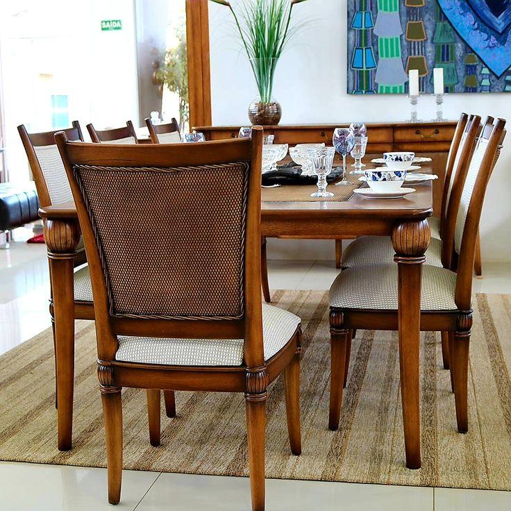 Mesa De Jantar Classica Em Madeira De Lei Entalhada Com Cadeiras