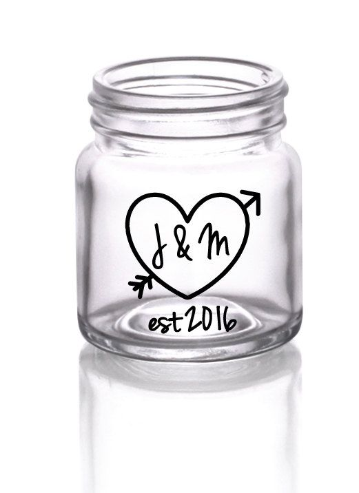 These super cute mini mason jar shot glasses are the perfect way to remember your special day! Carving your initials in a tree trunk is a classic