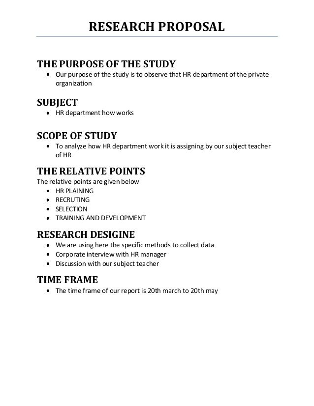 outline of a science research plan