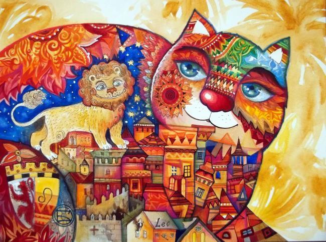 LION - Painting,  30x40 cm ©2011 von Oxana Zaika -  Malerei
