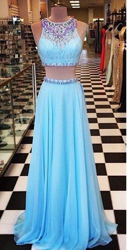LJ40 A Line Blue Prom Dress,Two Piece Prom