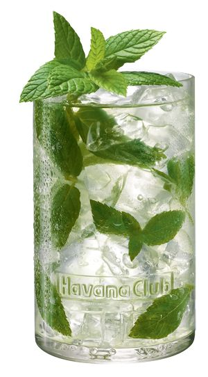 Mojito> 2 teaspoons of sugar; Juice of Half a Lime; 2 mint sprigs; 2 parts of sparkling water (9cl); 1 part of Havana Club Añejo 3 Años (4.5cl); and 4 ice cubes