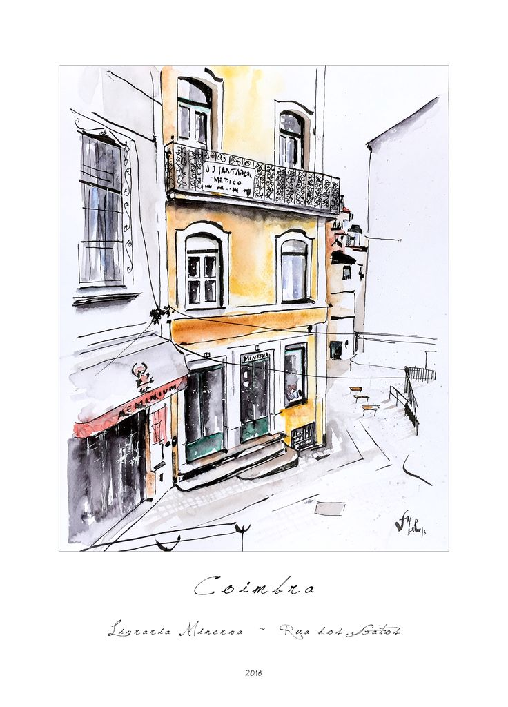 Victor Melo ~ Coimbra ~ Sketch ~ Indian ink + Watercolor