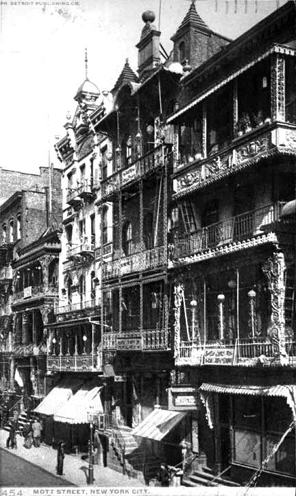 "New York circa 1900. ""Chinatown -- Mott Street."" 8x10 inch dry plate glass negative, Detroit Publishing Company."