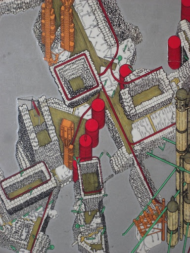 Archigram- Plug- in city- (Bir otomobil gibi sürekli yeni yedek parçalarla yenilenen makinevari şehir)