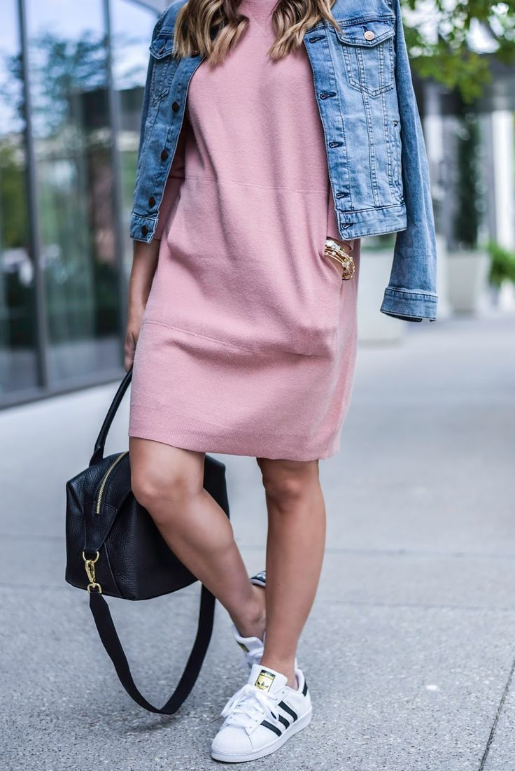 Flaunt and Center | Houston Fashion Blogger | Personal Style Blog, pink sweater dress, pink dress, adidas, blue jean jacket, women fashion, ootd, casual fashion, gigi new york bag, http://www.flauntandcenter.com