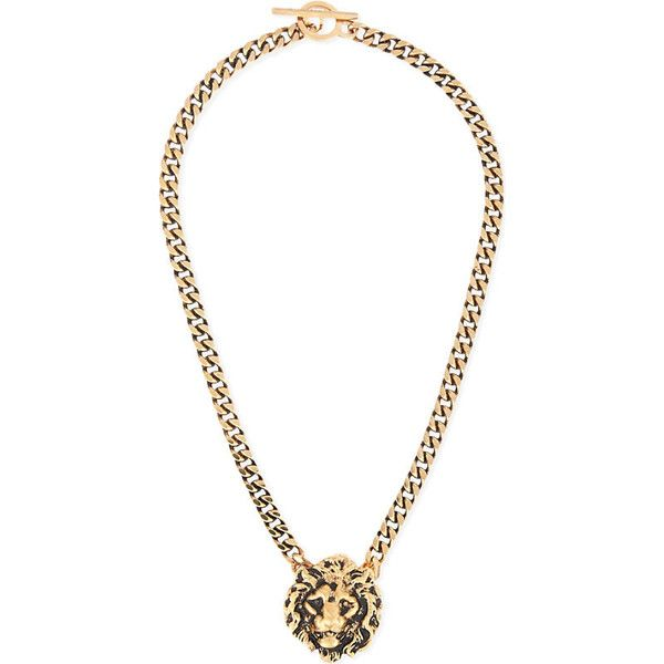 Saint Laurent Lion head necklace ($445) ❤ liked on Polyvore featuring jewelry, necklaces, chunky gold necklace, chain necklaces, gold chain pendant, gold pendant and gold lion necklace