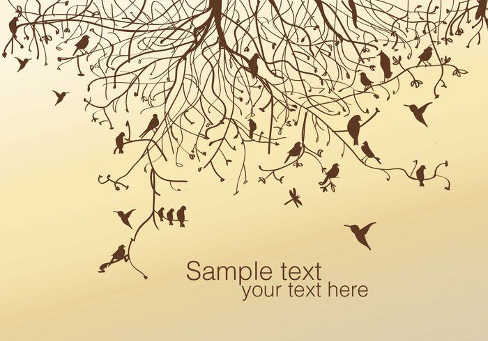 Tree and Bird Vector -   Group of birds on branches of trees made in one ink, on a background with gradient from a brown to cream tone with editable text, to add the text you want.  - https://www.welovesolo.com/tree-and-bird-vector-4/?utm_source=PN&utm_medium=welovesolo%40gmail.com&utm_campaign=SNAP%2Bfrom%2BWeLoveSoLo