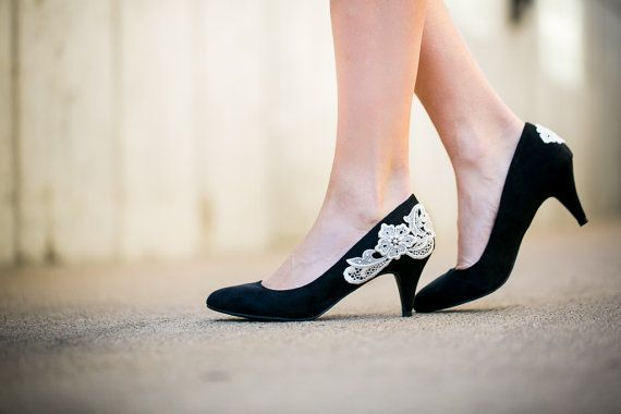Black Heel/Black Pump/Low Black Heels with Ivory Lace. US Size 10 ...
