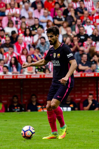 Andre Gomes of FC Barcelona during the match between Real Sporting de Gijón vs Futbol Club Barcelona at estadio El Molinón on September 24 2016 in...