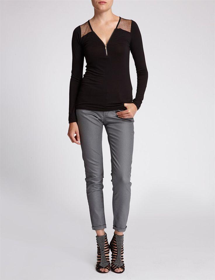 T-shirt bimatière et col zippé