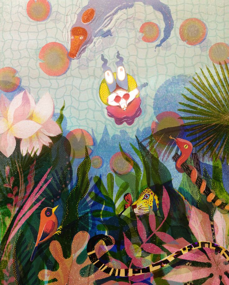 wrapmagazine:  We stumbled across the work of New York based illustrator Lisk Feng recently and were enthralled by the depth of her images. We especially like this one –'A Tropical Dream', with it's beautiful overlaid foliage, rippling waters and hidden creatures.  See more at liskfeng.com
