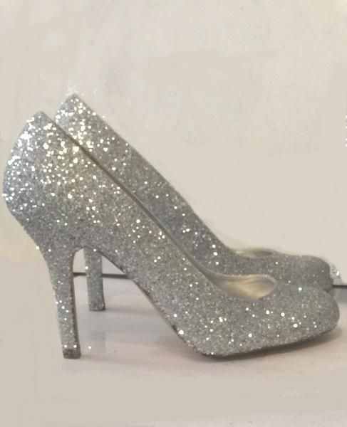 """Ready To Ship Sparkly Silver Glitter 3.5"""" Heels shoes Wedding Bride Prom Pumps"""