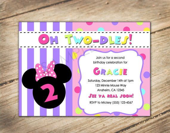 Oh Two-dles 2nd Birthday Minnie Mouse / Disney Theme Invitation on Etsy, $10.00