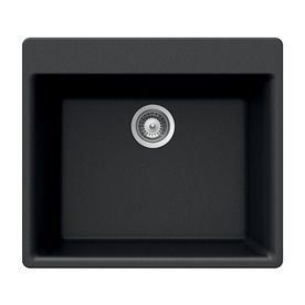 Available in 5 colors - HOUZER 21-in x 24-in Onyx Single-Basin Granite Drop-In 4-Hole Residential Kitchen Sink