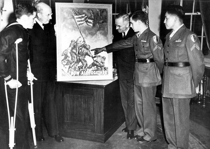 The three surviving Iwo Jima flag-raisers in the White House with President Harry S. Truman, 1945
