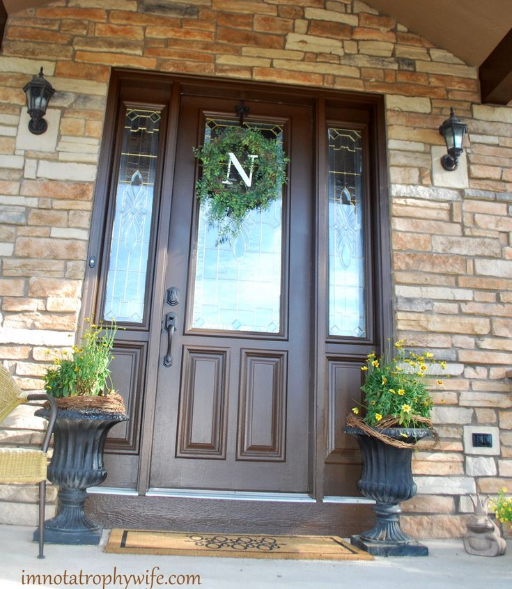 beautiful front door love the monogram will have to order one from my